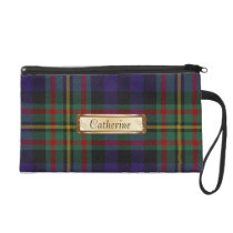 Colorful MacLellan Family Tartan Plaid Wristlet