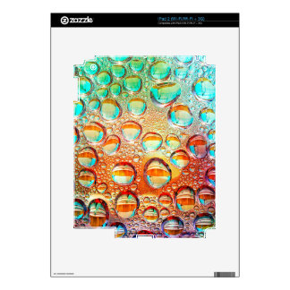 Colorful Macro Water Drops on Glass Photo Decals For iPad 2