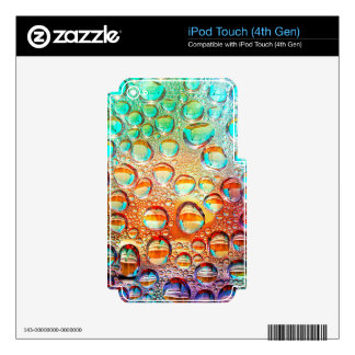 Colorful Macro Water Drops on Glass Photo iPod Touch 4G Skins
