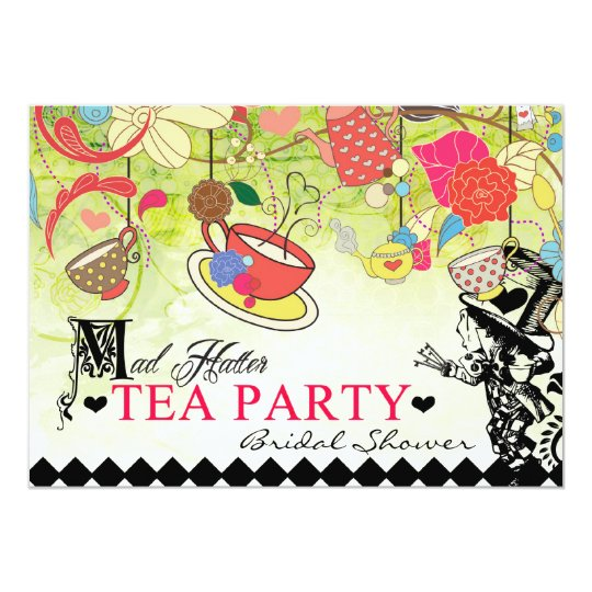 Colorful Mad Hatter Bridal Shower Invitation Zazzle Com