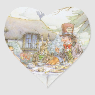Colorful Mad Hatter s Tea Party Heart Stickers