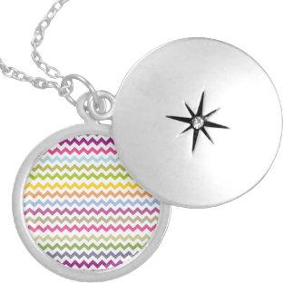 Colorful Made of Zig Zag Stripes Round Locket Necklace