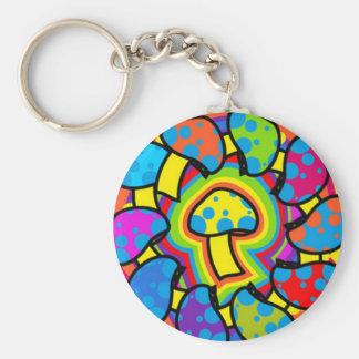 Colorful Magic Mushrooms Basic Round Button Keychain