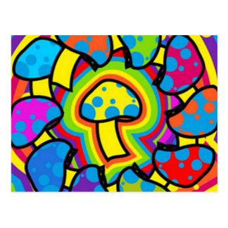 Colorful Magic Mushrooms Postcard
