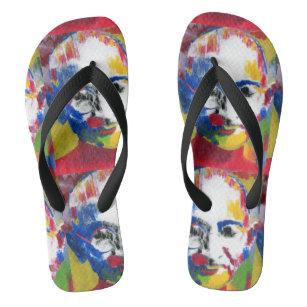 9521f72eb086c1 colorful mahatma gandi pop art flip flops