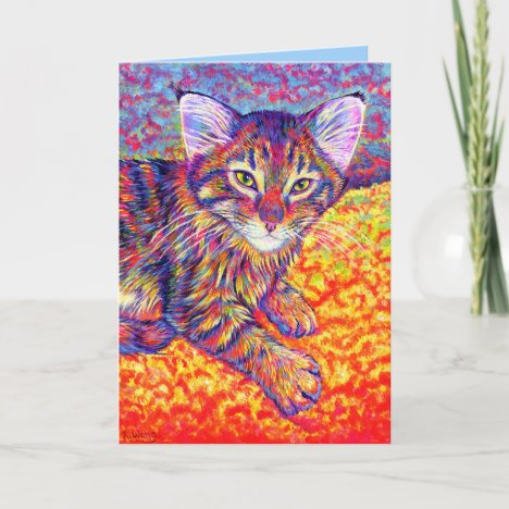 Colorful Maine Coon Kitten Greeting Card
