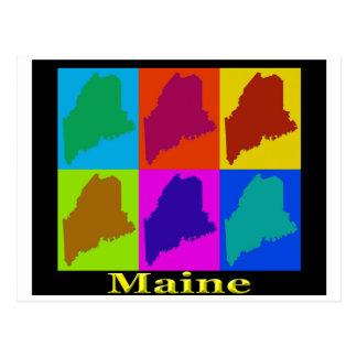 Colorful Maine Pop Art Map Postcard