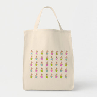 Colorful Maisy Bunnies Pattern Tote Bag