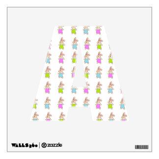 Colorful Maisy Bunnies Pattern Wall Sticker