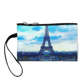 Colorful Majestic Eiffel Tower Key Coin Clutch