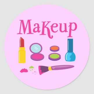 Colorful Makeup Classic Round Sticker