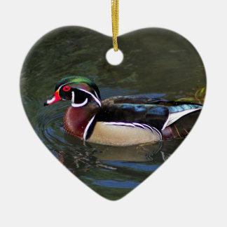 Colorful Male Wood Duck - Aix sponsa Ceramic Ornament