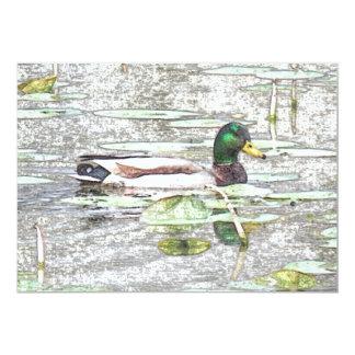 Colorful Mallard duck Art Retirement invitation
