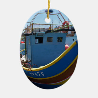Colorful Maltese Fishing Boat Ceramic Ornament