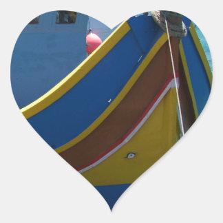 Colorful Maltese Fishing Boat Heart Sticker