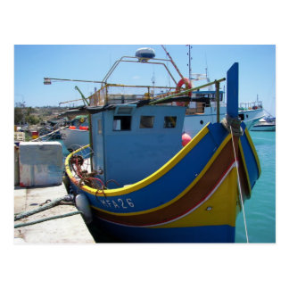 Colorful Maltese Fishing Boat Postcards