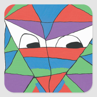Colorful Man Abstract Square Sticker