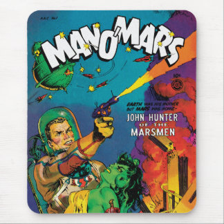 Colorful Man O' Mars Vintage 50s Comic Book Cover Mouse Pad