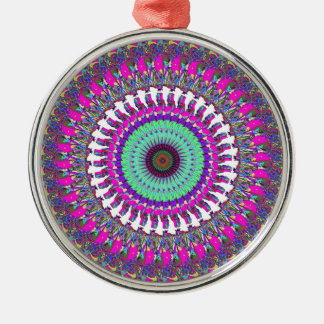 Colorful Mandala of Symmetry Metal Ornament