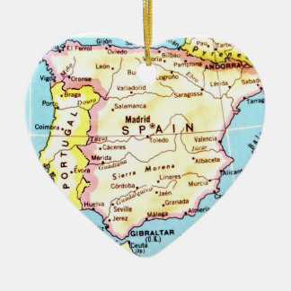 Colorful Map of Spain Design Ceramic Ornament
