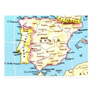 Colorful Map of Spain Design Postcard