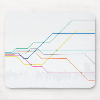 Colorful map of subway lines mouse pad
