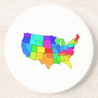 Colorful map of the United States of America Beverage Coaster
