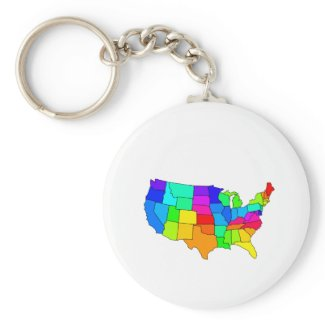 Colorful map of the United States of America keychain
