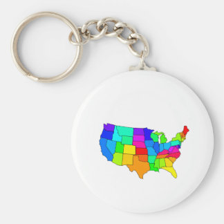 Colorful map of the United States of America Key Chain