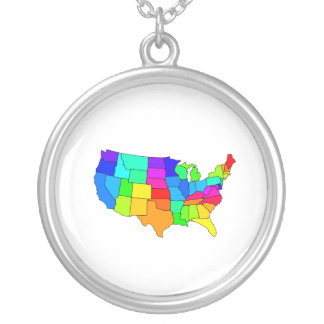 Colorful map of the United States of America Custom Necklace