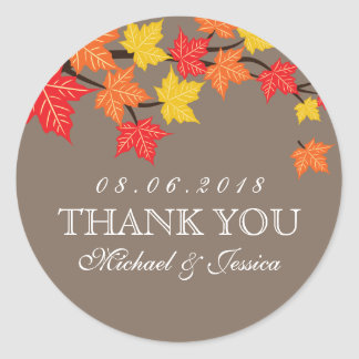 Colorful Maple Leaf Fall Autumn Wedding Sticker