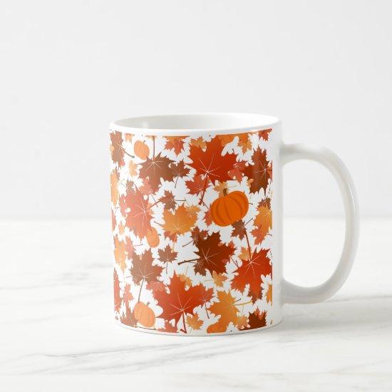 Colorful maple leaves and pumpkins fall pattern coffee mug