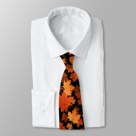Colorful maple leaves and pumpkins fall pattern tie