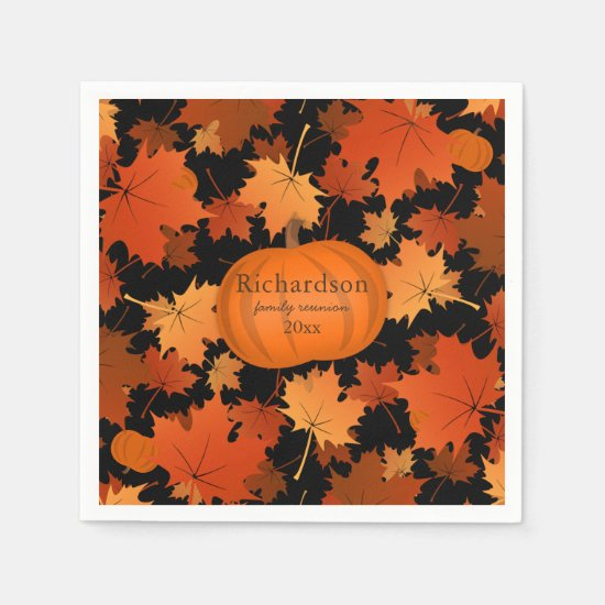 Colorful maple leaves pumpkin fall family reunion paper napkin