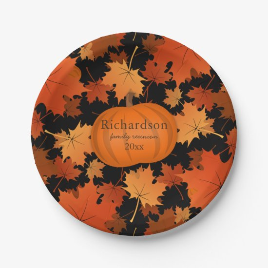 Colorful maple leaves pumpkin fall family reunion paper plate