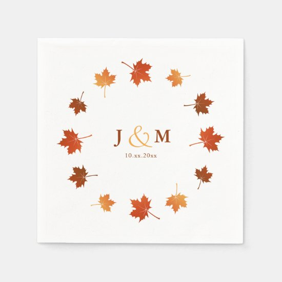 colorful maple leaves rustic fall wedding napkin