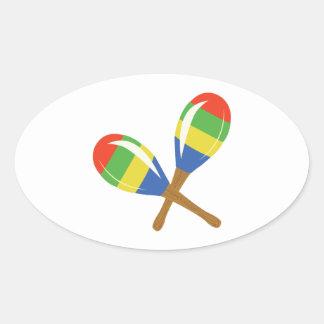 Colorful Maracas Oval Sticker