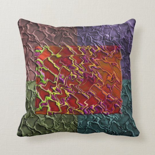 Colorful Marble Like Abstract Art Throw Pillow