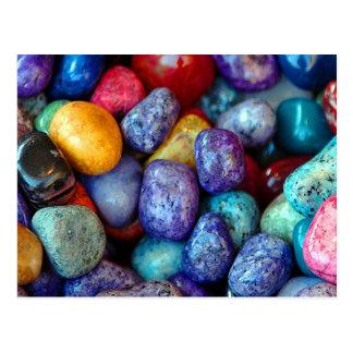 Colorful marble pebbles postcard