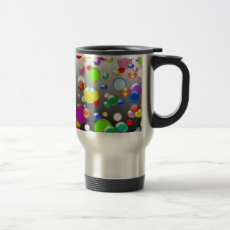 Colorful marbles and beads design travel mug