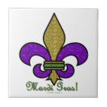 """Colorful Mardi Gras Fleur De Lis Ceramic Tile<br><div class=""""desc"""">You are viewing The Lee Hiller Designs Collection of Home and Office Decor,  Apparel,  Gifts and Collectibles. The Designs include Lee Hiller Photography and Mixed Media Digital Art Collection. You can view her Nature photography at http://HikeOurPlanet.com/ and follow her hiking blog within Hot Springs National Park.</div>"""