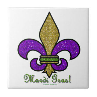 Colorful Mardi Gras Fleur De Lis Ceramic Tile