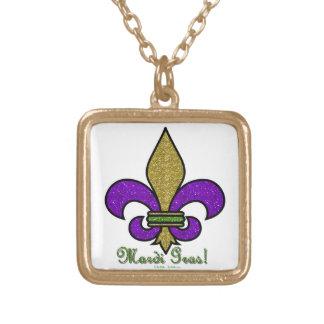 Colorful Mardi Gras Fleur De Lis Gold Plated Necklace