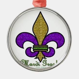 Colorful Mardi Gras Fleur De Lis Metal Ornament