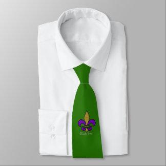 Colorful Mardi Gras Fleur De Lis on Green Neck Tie