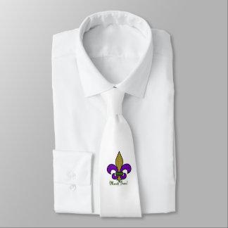 Colorful Mardi Gras Fleur De Lis on White Neck Tie