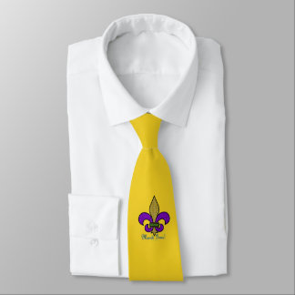 Colorful Mardi Gras Fleur De Lis on Yellow Neck Tie