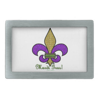 Colorful Mardi Gras Fleur De Lis Rectangular Belt Buckle