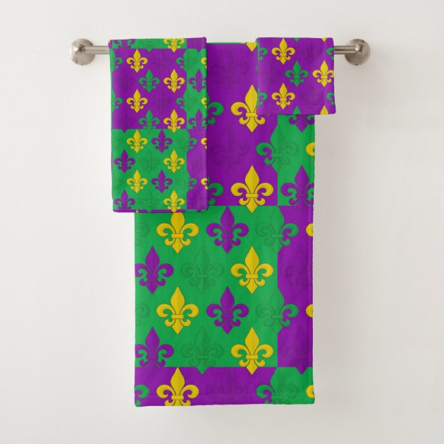 Studio Dalio - Colorful Mardi Gras French Fleur-de-lis Pattern Bath Towel Set