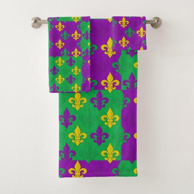Studio Dalio - Colorful Mardi Gras French Fleur-de-lis Pattern Bath Towel Set